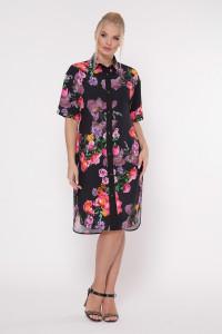 Платье-рубашка «Сати» принт шиповник