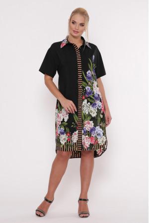 Платье-рубашка «Сати» черного цвета