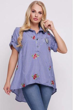 Рубашка «Ангелина» в голубую клетку с вышивкой