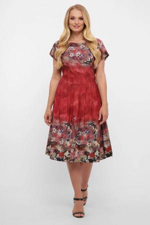 Платье «Лорен» бордового цвета с принтом-акварель