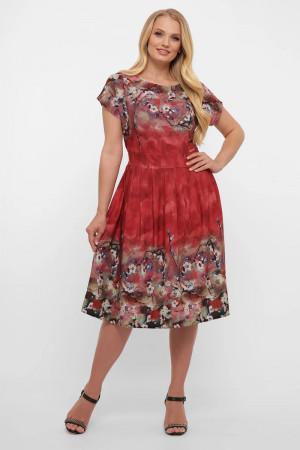 Сукня «Лорен» бордового кольору з принтом-акварель