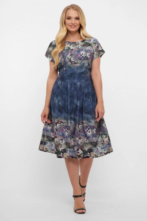 Сукня «Лорен» синього кольору з принтом-акварель