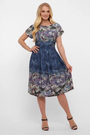 Платье «Лорен» синего цвета с принтом-акварель