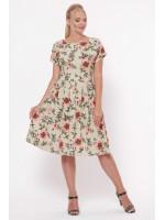 Сукня «Лорен» бежевого кольору з маками