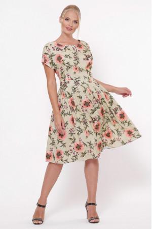 Платье «Лорен» бежевого цвета с маками