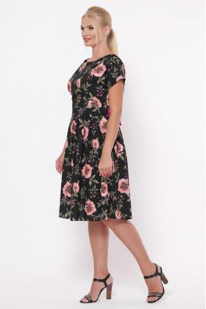 Платье «Лорен» черного цвета с маками