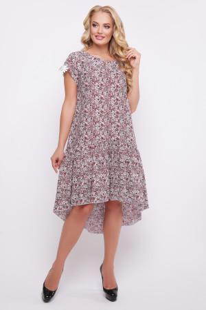 """Сукня """"Герда"""" бордового кольору з квітковим принтом"""