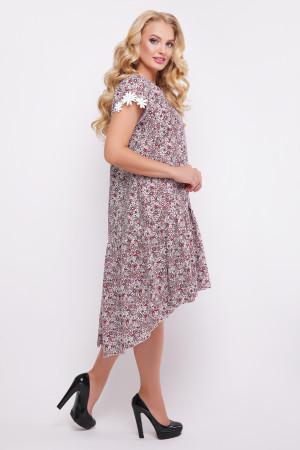 """Платье """"Герда"""" бордового цвета с цветочным принтом"""
