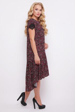 """Платье """"Герда"""" бордового цвета с восточным принтом"""