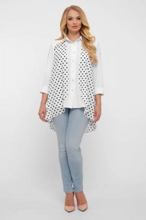 Блуза «Любава» у чорний горошок