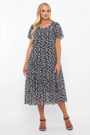 Платье «Катаисс» синего цвета в мелкие цветочки
