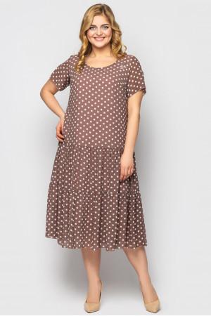 Платье «Катаисс» кофейного цвета с принтом-горох