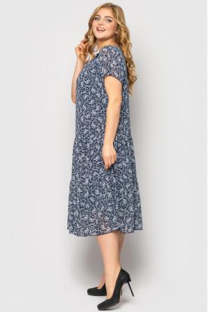 Платье «Катаисс» синего цвета с принтом-флора