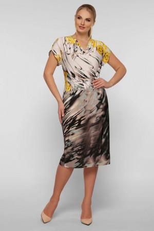 Платье «Дания» бежевого цвета с принтом