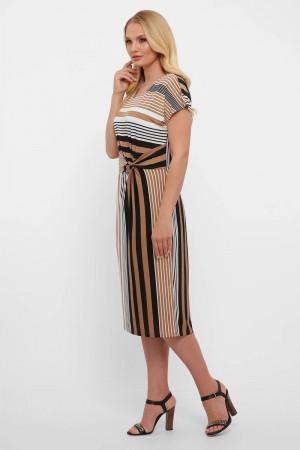 Платье «Белла» в бежевую полоску