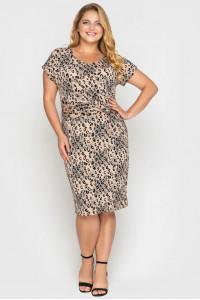 Сукня «Белла» бежевого кольору з леопардовим принтом