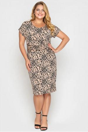 Платье «Белла» бежевого цвета с леопардовым принтом