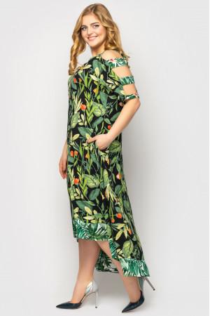 Сарафан «Тропикана» черного цвета с принтом-флора