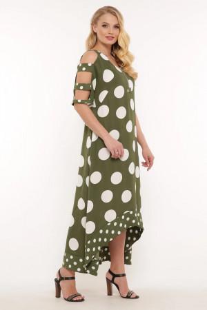 Сарафан «Тропикана» зеленого цвета в горох