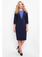 Платье «Софи» темно-синего цвета с васильковым