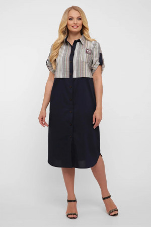 Платье-рубашка «Лана» синего цвета в светлую полоску