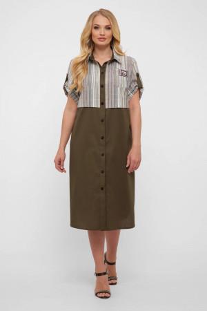 Сукня-сорочка «Лана» оливкового кольору в світлу смужку