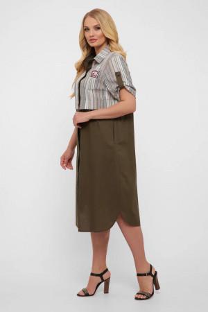 Платье-рубашка «Лана» оливкового цвета в светлую полоску