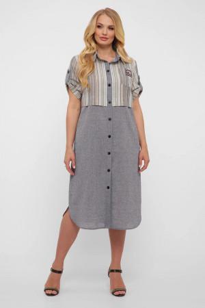 Платье-рубашка «Лана» серого цвета в светлую полоску