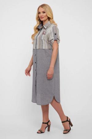 Сукня-сорочка «Лана» сірого кольору в світлу смужку