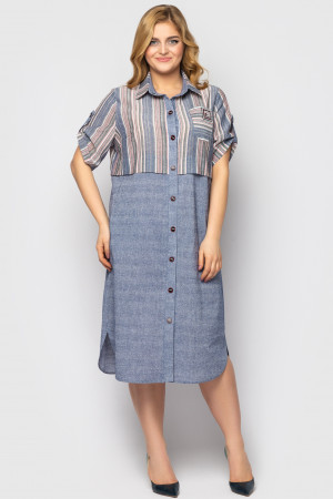 Платье-рубашка «Лана» цвета пудры