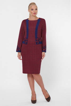 Платье «Донна» бордового цвета с кругами