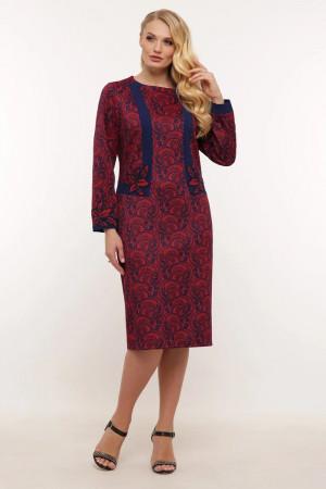 Платье «Донна» бордового цвета с завитками