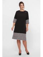 Платье «Тереза» черного цвета с принтом гусиная лапка