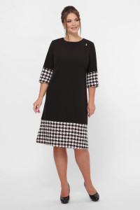 Сукня «Тереза» чорного кольору з принтом гусяча лапка