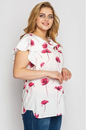Блуза «Альбина» белого цвета с маками