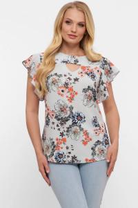 Блуза «Алина» с принтом-пионы