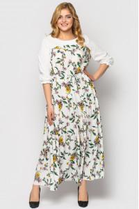 Сукня «Росава» білого кольору з принтом-літо