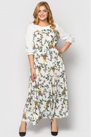 Платье «Росава» белого цвета с принтом-лето
