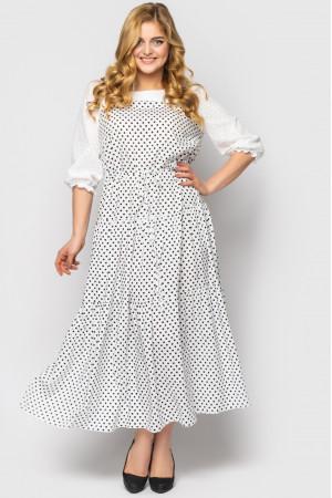 Платье «Росава» белого цвета с принтом-горох