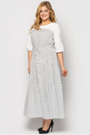 Сукня «Росава» білого кольору з принтом-горох