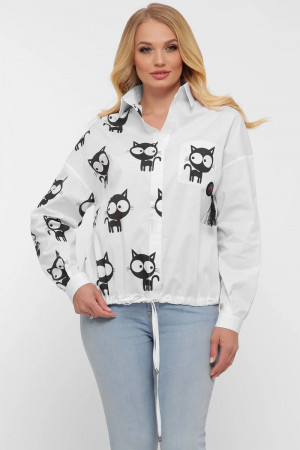 Рубашка «Китти» белого цвета с котами