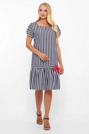 Платье «Аркадия» цвета джинс в широкую полоску