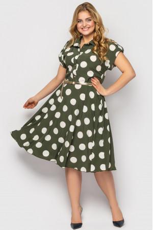 Платье «Альмира» оливкового цвета с принтом-горох