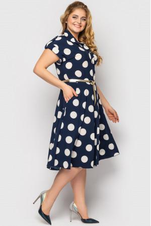 Платье «Альмира» синего цвета с принтом-горох