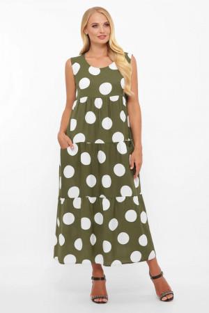 Сарафан «Тала» оливкового цвета с горошинами