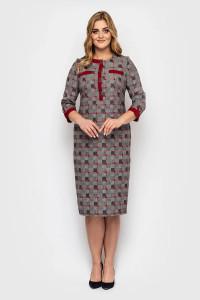 Платье «Мирра» цвета бордо в клетку