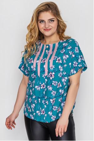 Блузка «Роял» бірюзового кольору