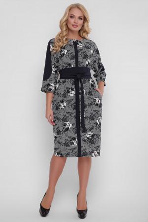 Сукня «Кетлін» з трояндами чорно-білого кольору