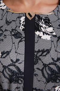 Платье «Кэтлин» с розами черно-белого цвета