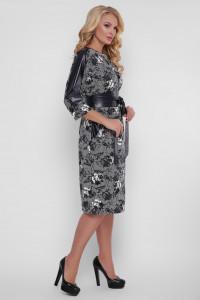 Платье «Кэтлин» с розами черно-белого цвета, экокожа